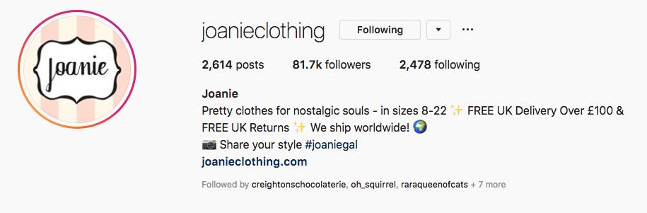 Joanie Instagram bio defines brand