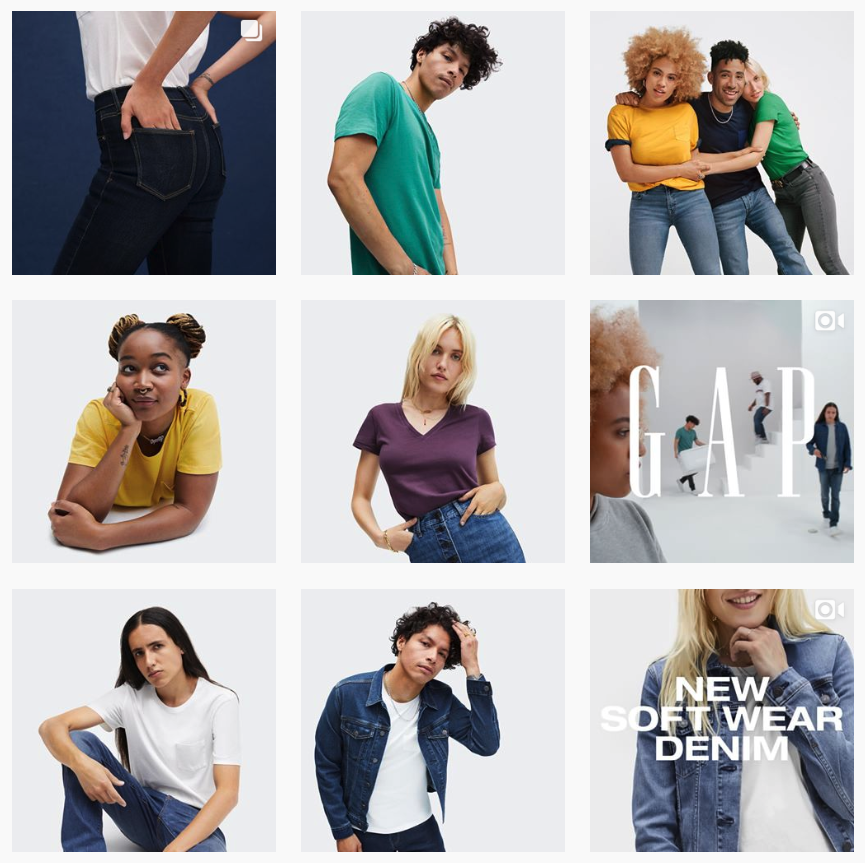 GAP Instagram feed shows visual brand identity