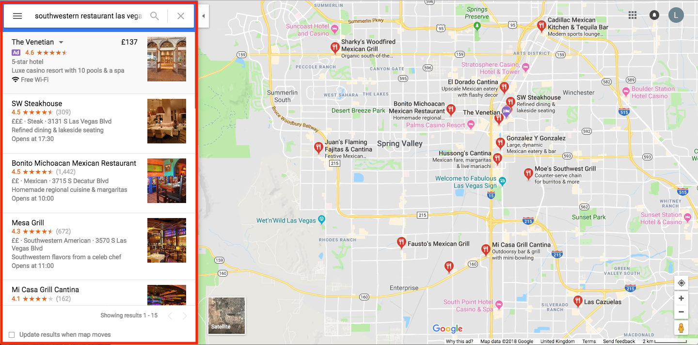 Google Maps Optimization las vegas restaurants